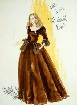 Sketch from the amazing Edith Head.   Dress for Bette Davis in All About Eve.