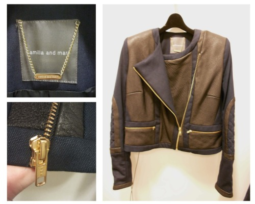 Garment investigation 1: Camilla and Marc leather and canvas zip front jacket, fully lined with quilted shoulder patches.
