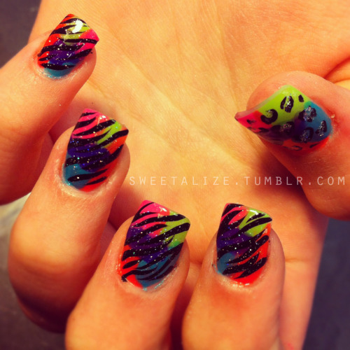 Colorful with zebra and cheetah print. See this post on Instagram (@sweetalize) here.