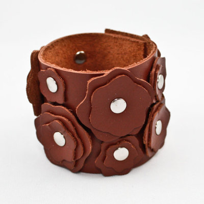 """Flower"" Leather Cuff Bracelet by OnceAgainSam"