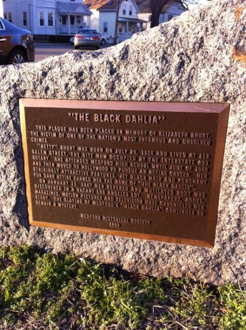 Memorial to the Black Dahlia in her hometown of Medford, Massachusetts. (Photo copyright Tara Marie McNeely)