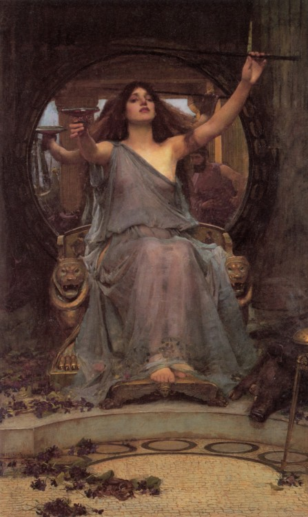 From Wikipedia: Circe Offering the Cup to Ulysses is an oil painting in the Pre-Raphaelite style by John William Waterhouse that was created in 1891. The painting depicts a scene from Greek mythology, the sorceress Circe offering Odysseus a cup containing a potion with which she seeks to bring him under her spell as she has his crew.