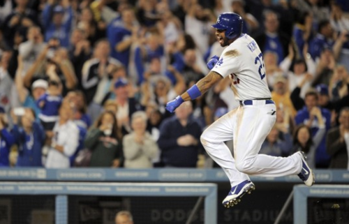 """Matt Kemp homers in 10th as Dodgers beat Nationals 4-3 to spoil Bryce Harper's strong debut"" (via) There's only one thing I love more than a good walkoff, and that's being present during a good walkoff. Thankfully, I had the pleasure of attending this game and I can't be any happier. Other than the obvious, I got to see Strasburg pitch (in which he and Billingsley came out fairly even stat-wise, go us!), Bryce Harper debut/first Major League hit (which was very solid — 1-for-3 and I still can't get over how picture perfect his batting is), Dee Gordon steal, Kemp steal, Uribe do something productive (but still not worth his 5 mil, however some things will never change), Maury Wills be Maury Wills, and probably a lot more than I can't seem to think about because Matt Kemp is just so wonderful. I can't even begin to describe how grateful I am for this man."