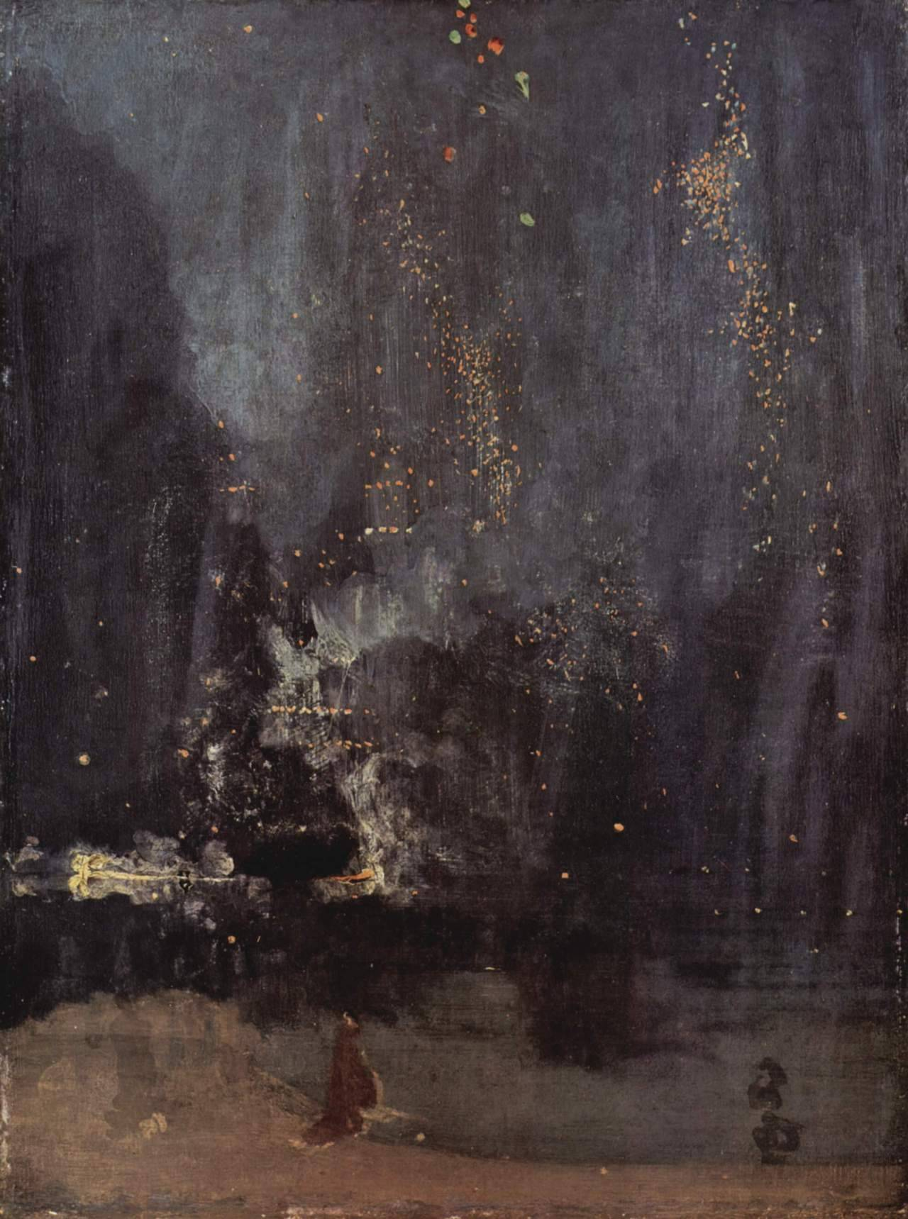 museumuesum:  James Abbott McNeill Whistler Nocturne in Black and Gold – The Falling Rocket, c. 1872-1877 oil on canvas 60.3 cm × 46.6 cm (23.7 in × 18.3 in)