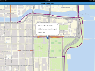 The Chicago Offline Bike Map is now listed on City-Go-Round, a directory of apps that help you get around.  The current version doesn't have transit stations listed, but the in-progress version already has working train station markers, and a CTA station finder (I'm finishing up the Metra station finder).  Screenshot shows current version on an iPad. Also, I'm looking for suggestions for points of interest to add.