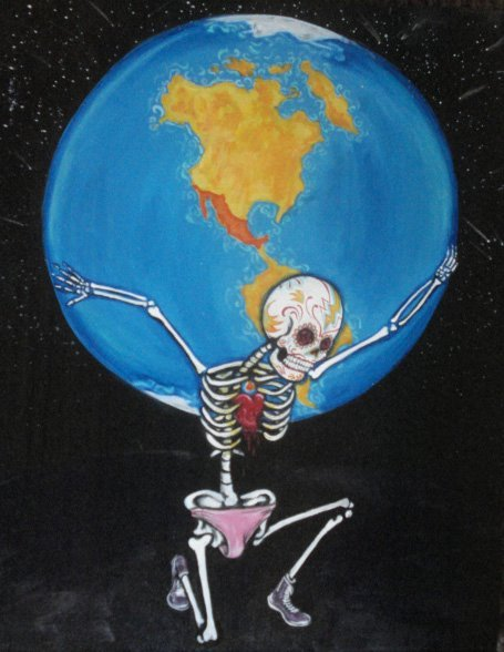 """El Mundo"" 24"" X 30"" Acrylic on canvas. A piece from my Loteria De Los Muertos Series."
