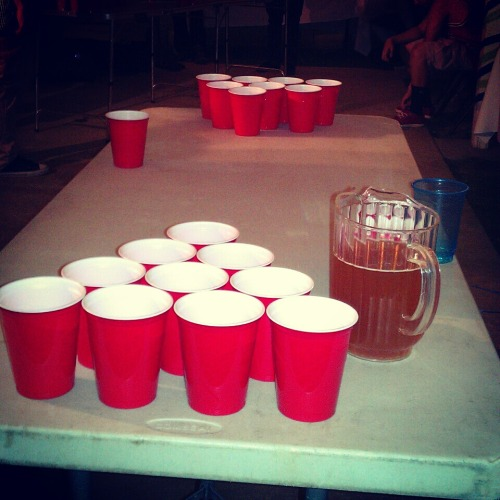 Pitchers on each side for a Beer Pong game !