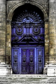 Beautiful Blue Baroque Door. St. Paul, France.