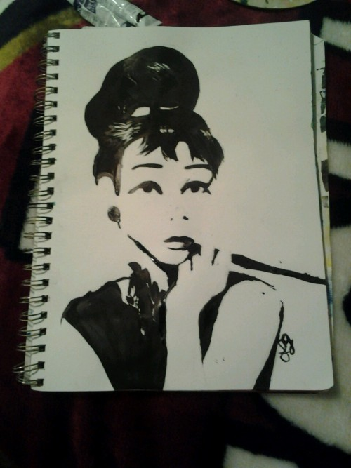 My painting of  audrey hepburn(:
