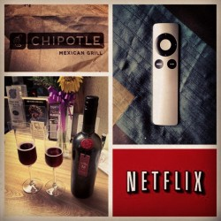 My night. #perfect #netflix #chipotle #wine #instagraphy #instaography #hipster #iphoneography #instagood #instamood #follow #instatigram #picoftheday #popular #picture #webstagram #photooftheday #love #goodvibes #photo #picture #camera #rad #teamfollowback #followforfollow (Taken with instagram)