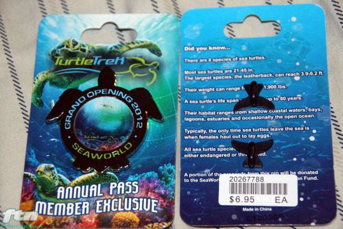 The Turtle Trek SeaWorld Orlando Annual Passholder exclusive grand opening pin for sale at the store located at the exit to Turtle Trek. The turtle features a hologram of a sea turtle swimming closer and closer to you as the pin is turned.
