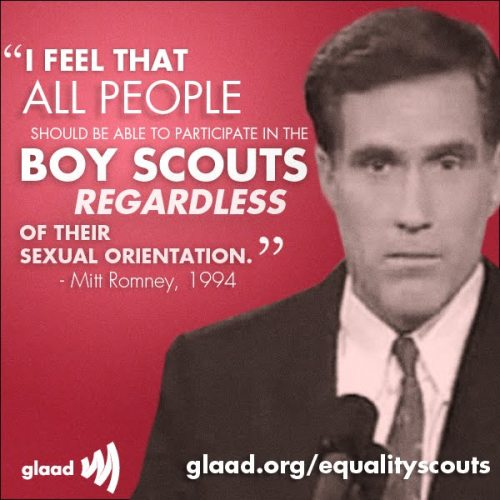 gaywrites:  In light of assorted recent events about homophobia in scout troops, GLAAD has unearthed a surprising quote from Mitt Romney's earlier . I wouldn't have believed it if it weren't on Tumblr…