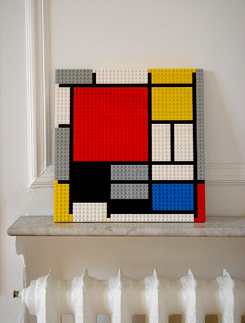 sweethomestyle:  Mondrian made in Lego in my dining room. Submitted by godwantsit. http://godwantsit.tumblr.com/