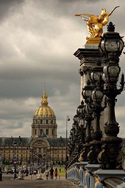 ysvoice:  | ♕ |  Pont Alexandre III towards Les Invalides - Paris  | by © dprezat    Glorieux Paris. Yes indeed we got gold accents on these sculptures.