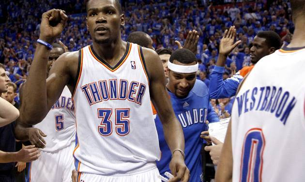 Oklahoma Thunder defeats Dallas Mavericks with a late bucket made but Kevin Durant. This was a close game since the start of the game, wire-to-wire. This series is probly the most exciting one so far, and I can definitely see this going to 7 Games. Both teams are doing what they're supposed to be doing. Serge Ibaka doing it on the defensive end, Russel Westbrook doing what he does offensively, Kevin Durant doing everything on the offense and defensive end, James Harden coming off the bench doing his thing. If they want to dominate this series, its time that Perkins needs to find his offensive rhythm and someone else from the bench needs to step up. Shawn Marion and Dirk Nowitzki doing what they do, Jason Terry coming off the bench doing what he does, Vince Carter stepping up. Jason Kidd having his all around game as usual. If they want to dominate this series Brendan Haywood needs to do what he did during the season before he got his injury and like I said about the Thunder needing someone else off the bench to show up, same thing for the Mavs, they need someone from the bench to step up. Oklahoma takes Game 1 in a close battle.