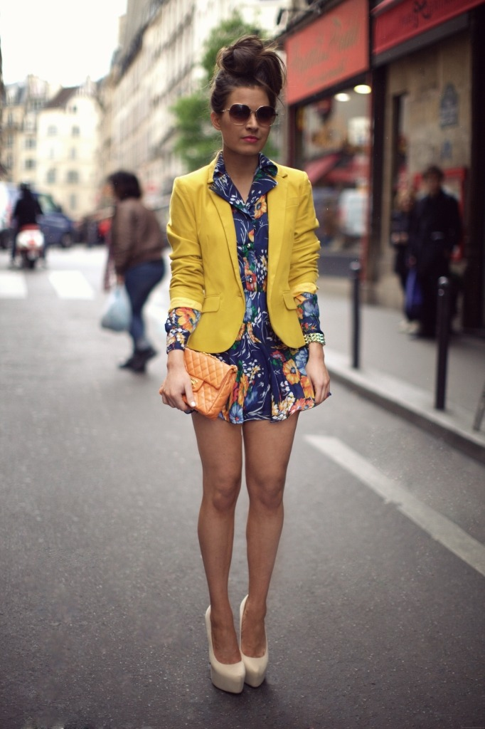 ASOS Blazer, Vintage Floral Dress, Chanel Bag,  Missguided Cream Heels + H&M Sunglasses  (image: befrassy)