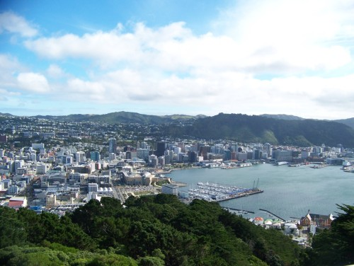 View of Wellington, New Zealand from atop Mount Victoria