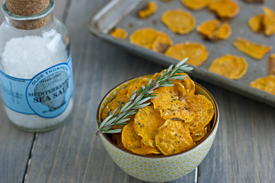 Garlic Rosemary Baked Sweet Potato Chips     (click image for recipe)