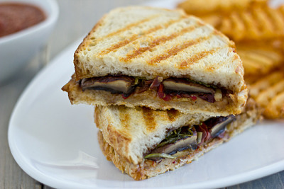 Grilled Portabella Panini with Artichoke Tapenade     (click image for recipe)