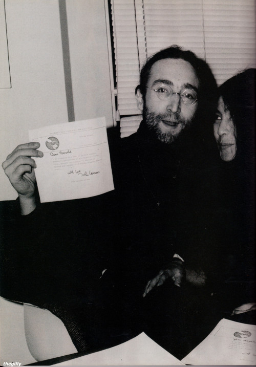 John Lennon and Yoko Ono at the Apple offices in London sending back John's MBE, 25 November 1969.