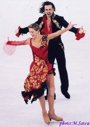 Irina Lobacheva and Ilia Averbukh's tango and flamenco costumes at the 2002 World Championships.