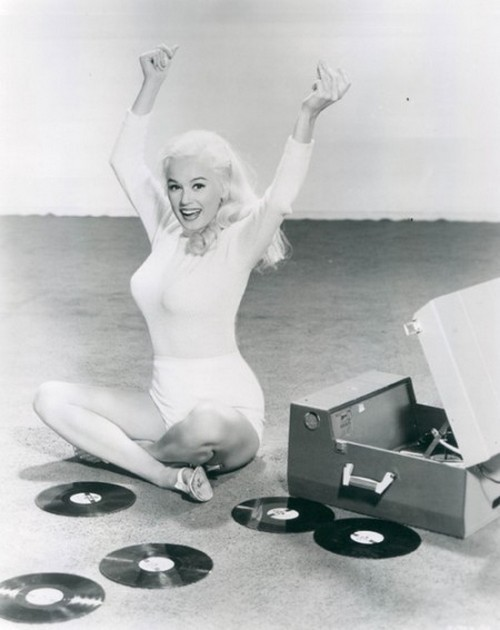 theniftyfifties:  A record party with Mamie Van Doren, 1950s.