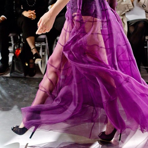 Purple Embroided Chifon dress with black heels, creation of #ChristianDior #hautecouture #Spring2012 #couture  (Taken with instagram)