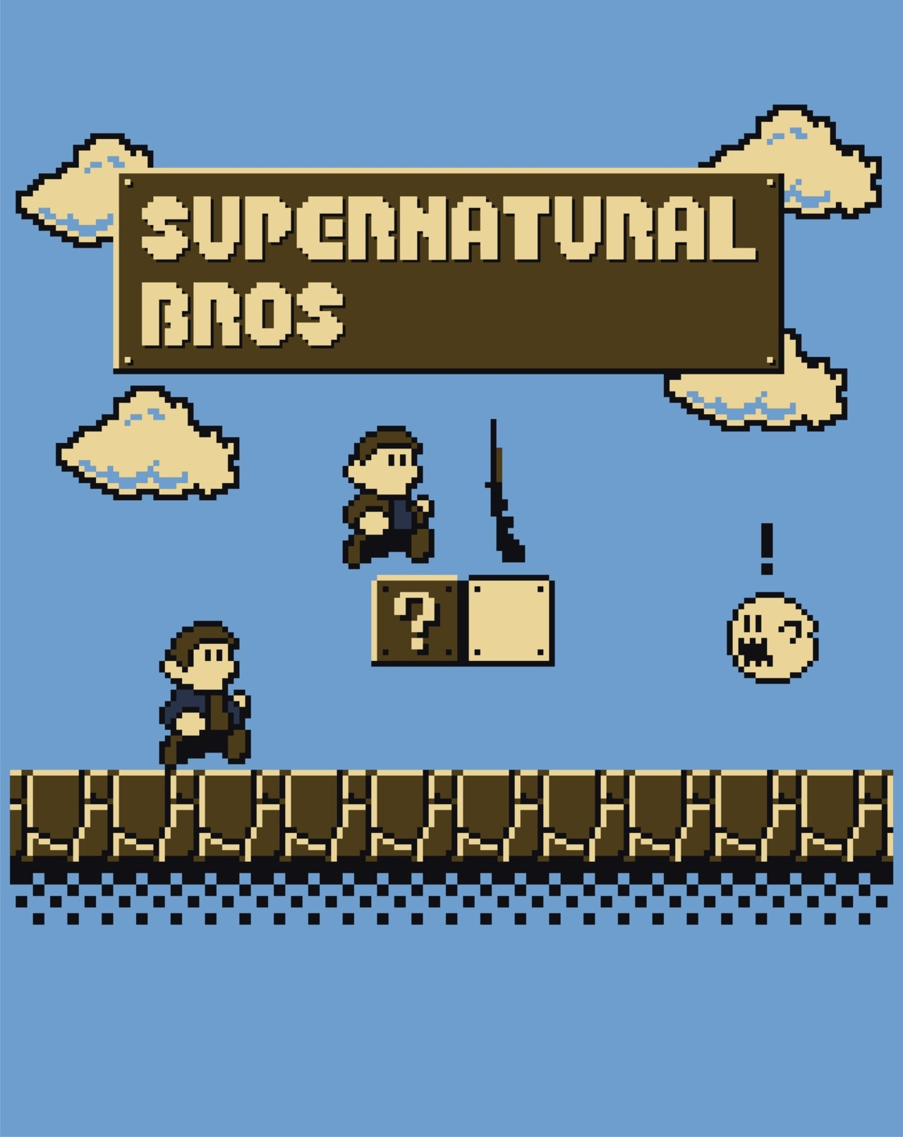 it8bit:  Supernatural Bros. Created and submitted by Lee Byway T-shirts available at othertees today 30th April for 72 hours! Facebook || Red Bubble  Super Mario/Supernatural crossover….someone had to do it