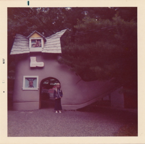 A June, 1973 photo of the not-so-old lady who lived in a shoe, from a large collection of family photos I picked up at a flea market last month.