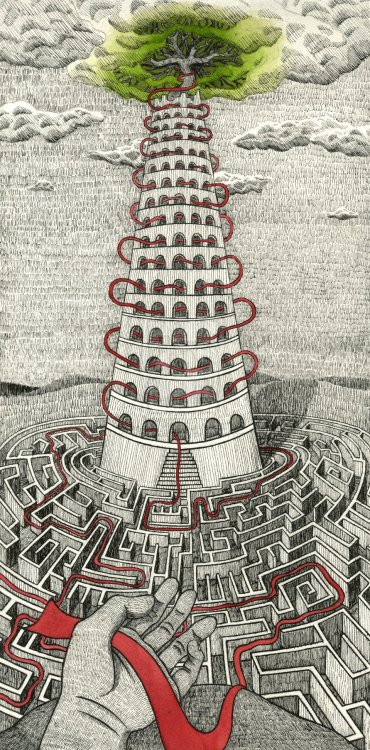 Interesting labyrinth   mydarkenedeyes:  Tower by WhatIsThursday On Tumblr