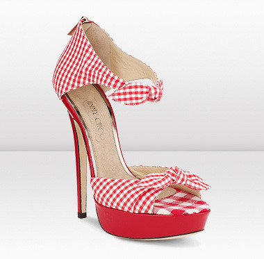 Brigitte in Red/White by Jimmy Choo.