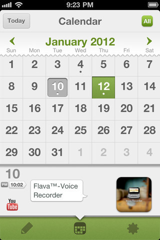 "Flava. iPhone. Free. Want to keep track of life's moments but don't always have your diary with you? Well, you do have your phone with you, so why not journal on your iPhone? Flava makes it very simple and fun. Save books, links, locations, photos, songs and text as you go about your daily routine. Simple press the plus button and choose one of the options. Add a book through title search, paste in a URL, check in at a location and add a description, snap a new photo or add from your Photo Library, crop the photo and add ""props"" or illustrations to it to give it a fun twist, add the last song playing on your phone or search the music database to add one, or type and save any bit of text you want. Share to Facebook, Tumblr or Twitter and tag the share with icons. You can back up to Dropbox and save your entries to Evernote. Lock the whole thing up with a passcode to keep your private thoughts private. It's definitely a fun way to keep a record of life events."