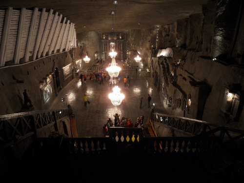 St. Kinga's Chapel in the Wieliczka Salt Mines, some 15km outside Krakow in Poland. There are daily walking tours which descend 185m underground. Not good for claustrophobics, but a beautiful place to visit with some amazing sculptures crafted by the miners, as well as the chapel, which is around 120m underground, if I recall right.