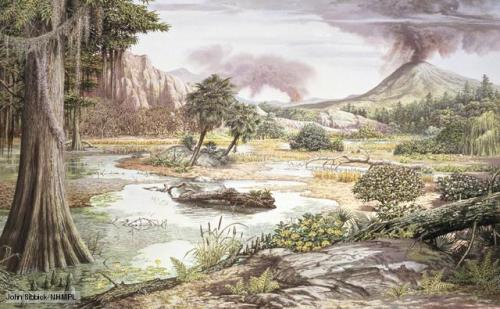 "paleoillustration:  Mesozoic ""the Age of Reptiles"" flora, by John Sibbick."