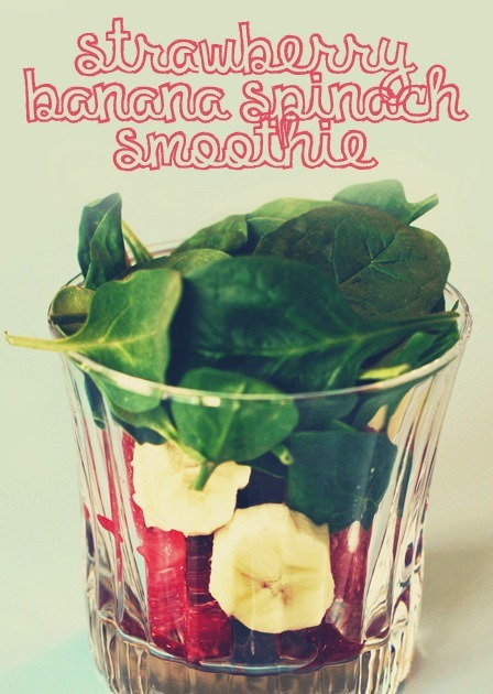 Strawberry Banana Spinach Smoothiedelicious and packed with vitamins, minerals, & antioxidantsapproximately 150 caloriesIngredients 6 medium Strawberries1 Banana1 cup Baby Spinach6 cubes or ½ a cup of iceDirections Combine ingredients in a blender or food processor and enjoy! I usually find it hard to eat raw spinach, but in this recipe, I can barely taste it and it's so quick and easy to make!