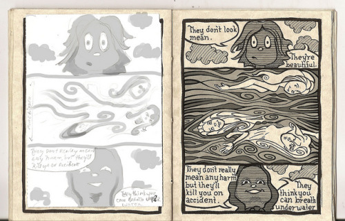 River Nymphs page 18 on Flickr.This is page 18. The thumbs are on the left & inks on the right. I decided to do a dry run on toning. The final product will look pretty different, but doing these every once & a while helps me work a strategy for the final product.