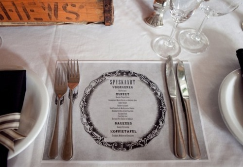 flowersandcake:  Tip: DIY menu etched glass table setting. very cool