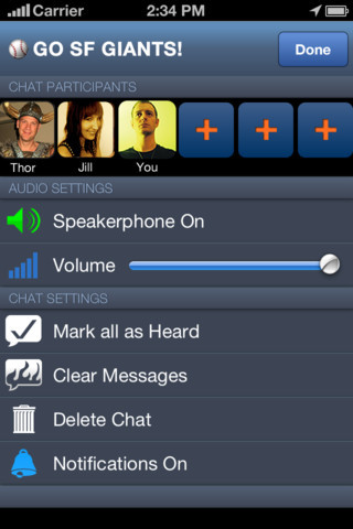 Voxer. iPhone and Android. Free. Voxer is a walkie talkie push-to-talk voice service, much like Nextel -  like text messages but with voice instead of text. Send instant Audio, Text, Photo and Location messages to one friend or a group of your friends. Your friends can listen to your message while you talk or check it out later. Works over WiFi or 3G or other data network. Create a new identity or log in with Facebook, sync it with your phone's address book and/or Facebook, then start chatting with other individual friends, or groups that you join or create. The interface shows a text message style interface. You hold a talk button to record a quick message for the other party, although there's also an option to listen live to an incoming message that a friend is recording. You can also send text messages within the flow of correspondence. The look of the app is sharp, making it fun to use. When you need quick communication and you don't feel like typing, turn to Voxer.