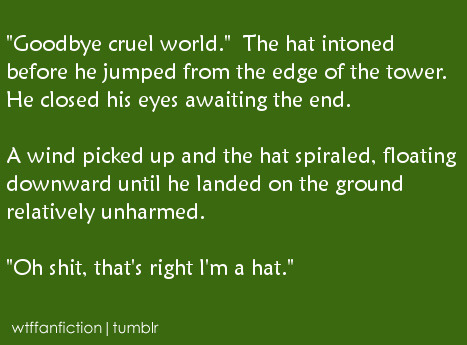"wtffanfiction:  Fandom: Harry Potter ""'Goodbye cruel world.' The hat intoned before he jumped from the edge of the tower. He closed his eyes awaiting the end. A wind picked up and the hat spiraled, floating downward until he landed on the ground relatively unharmed. 'Oh shit, that's right I'm a hat.'"""