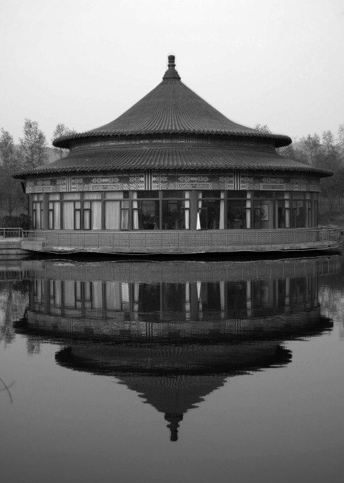 Temple Reflection.  shot with the Nikon D40 at 219 Park in Anshan, Liaoning, China