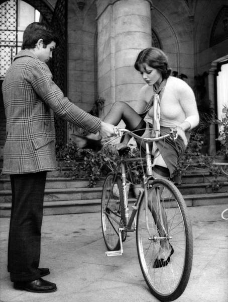 """Margot was right into the 'cycling chic' thing but she was to discover that sometimes you need to adjust your clothing for what you've going to ride…"""