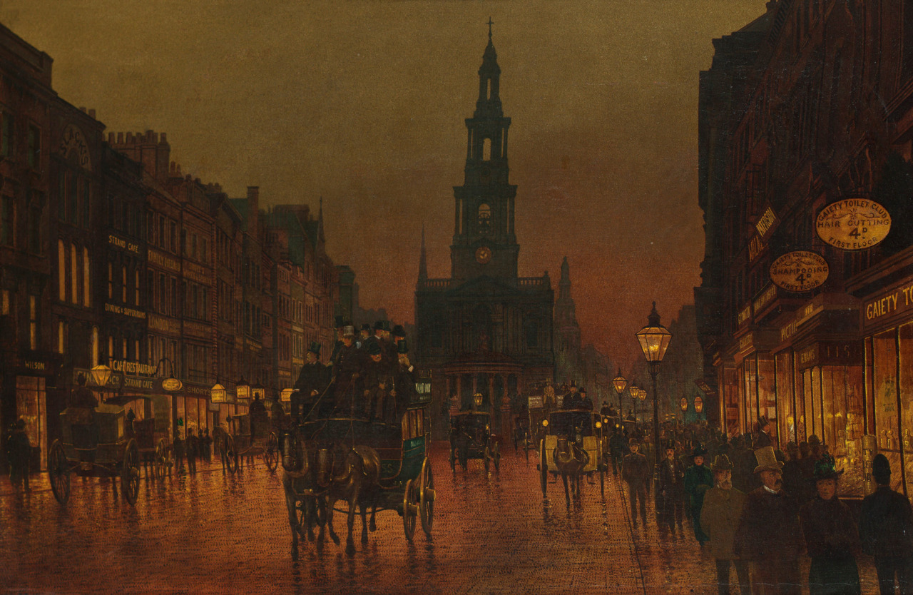 vicfangirlguide:  The Strand in London painted by Arthur Grimshaw in 1899. During the 19th century The Strand was one of the most fashionable addresses in London and was the centre of Victorian theatre and nightlife.