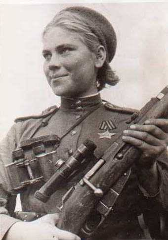 Roza Georgiyevna Shanina, a female sniper during World War II, credited with 54 confirmed kills, including 12 snipers during the Battle of Vilnius…  http://en.wikipedia.org/wiki/Roza_Shanina
