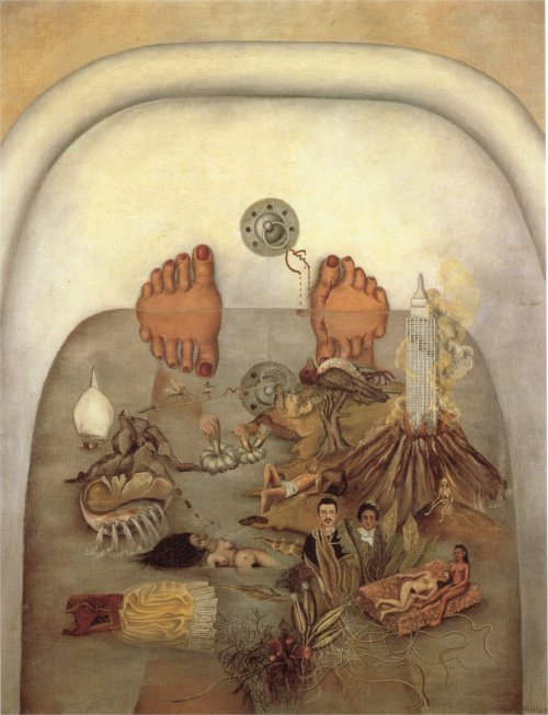 fckyeaharthistory:  Frida Kahlo – What the Water Gave Me, 1938. Oil on canvas Submitted by virginite