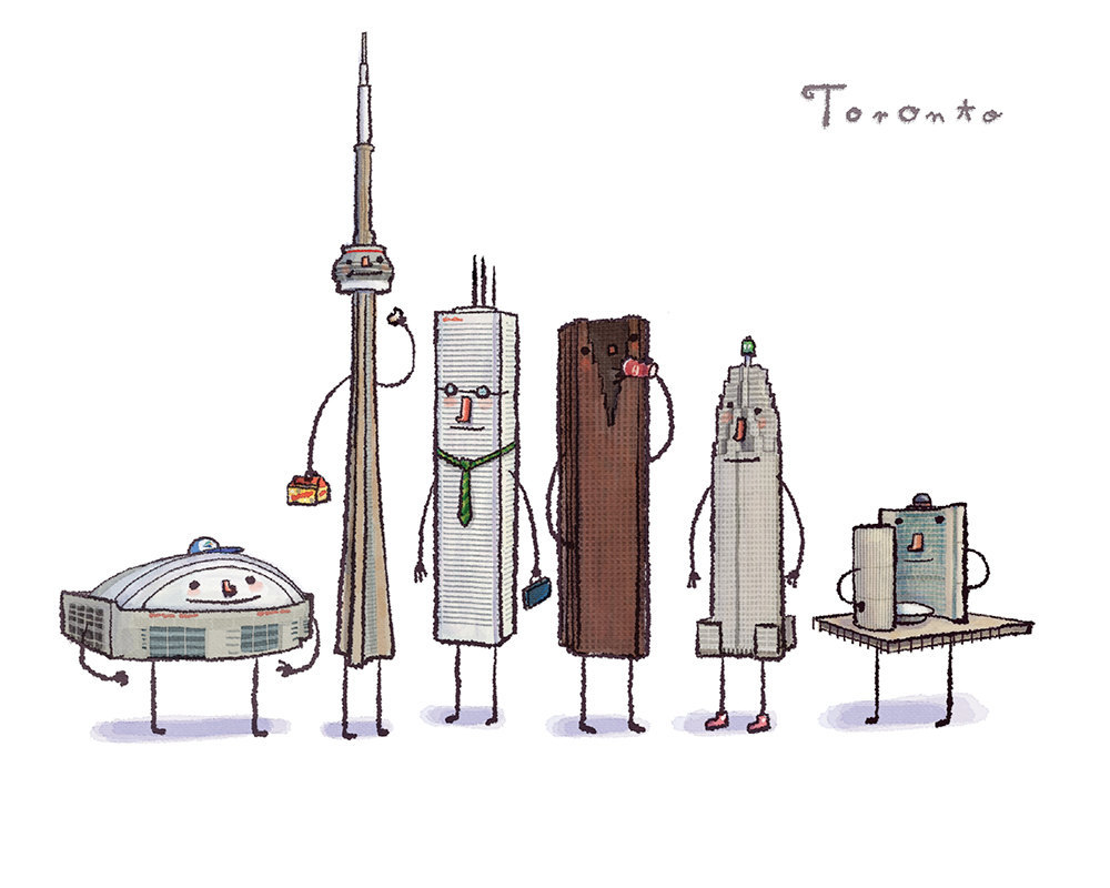 Toronto Buildings! fuckyeahtoronto:  danajen: I like that the CN Tower is holding a box of timbits. pamplemoussi: They've made all the buildings so cute!