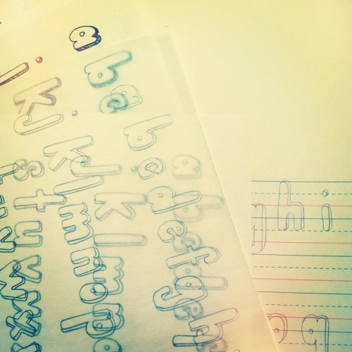 "the making of ""paperdoll"" type #handlettering (Taken with instagram)"
