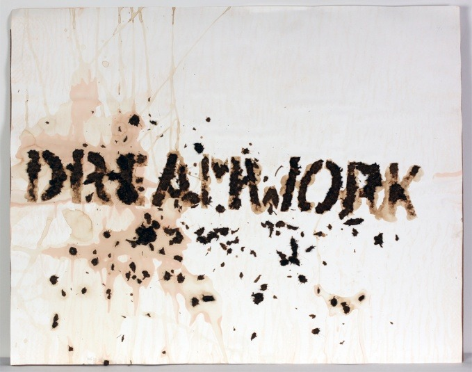 Christian Eisenberger. Dreamwork, 2011 40 x 32 inches, Police-Horse shit on paper.