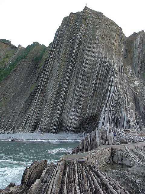 hammerforscale:  geolmuse:  visitheworld:  Zumaia beach, Basque Country, Spain (by jordicerda52).  Basque country is definitely on my to-visit list.  Every time I come on here I'm astounded by the geological photos! I'm pretty sure the folding/faulting around the Basque is due to the Variscan Orogeny (mountain building period) when Euramerica and Gondwana collided to form Pangaea around 300 million years ago. The fact that these beds are almost vertical gives you some idea of the forces that this period in geological history entailed.