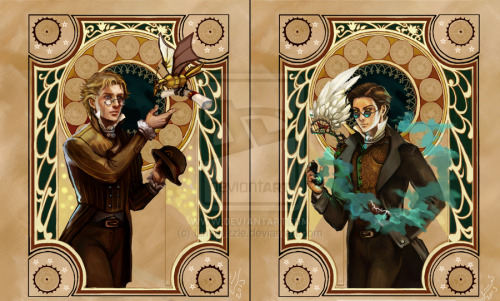 aslytherinsuperwholockian:  Good Omens: Steampunk edition by ~Linnpuzzle this is beautiful!