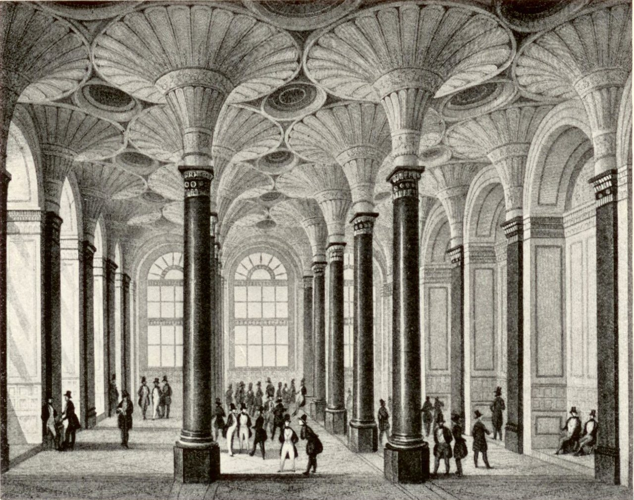 Inside the old stock exchange in 1845, Frankfurt
